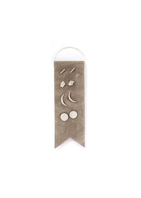Splendid Iris Silver Stud Earring Set w/ Grey Velvet Ribbon