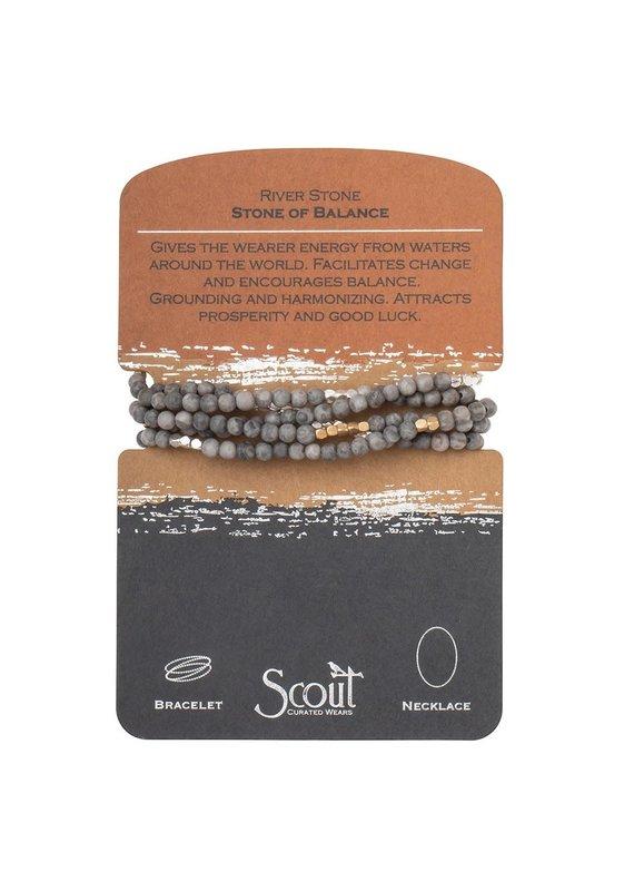 Scout River Stone Silver & Gold Stone Wrap