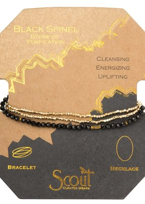 Scout Black Spinel & Gold Delicate Stone Wrap