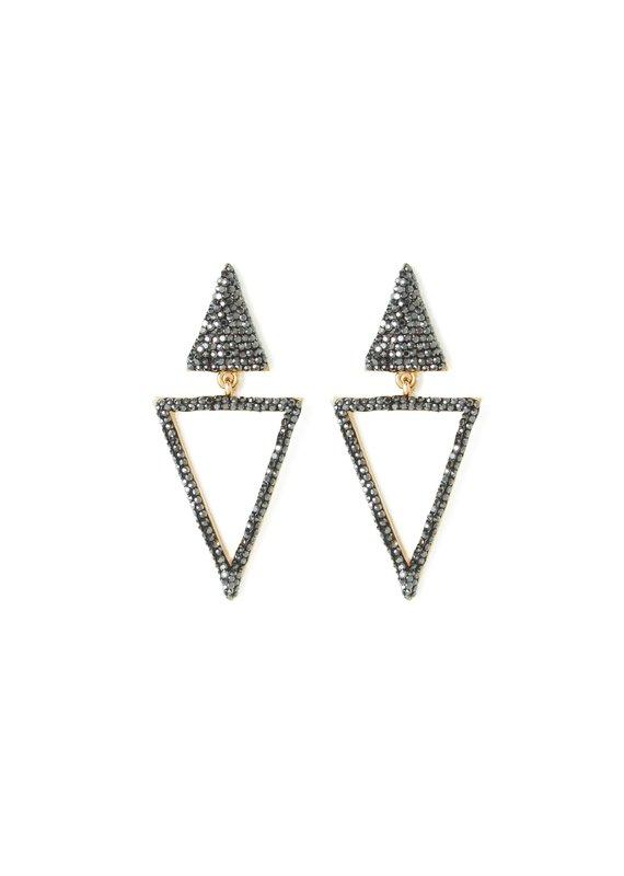 Splendid Iris Double Triangle Earrings w Black Hematite Crystals