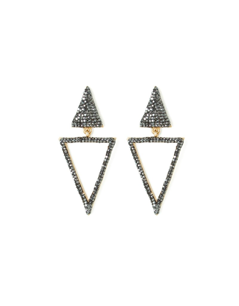 Splendid Iris Double Triangle Earrings w Black Hematite Crystals