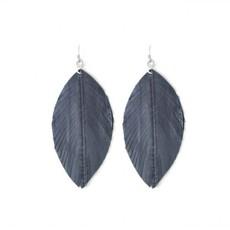 Splendid Iris Charcoal Leather Leaf Earrings
