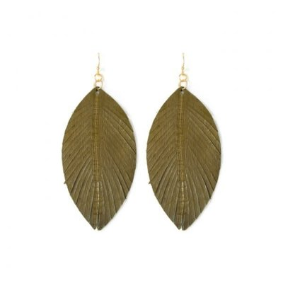 Splendid Iris Olive Leather Leaf Earrings