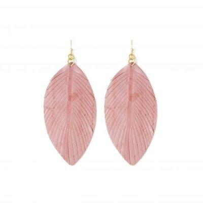 Splendid Iris Mauve Leather Leaf Earrings