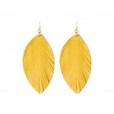 Splendid Iris Mustard Leather Leaf Earrings
