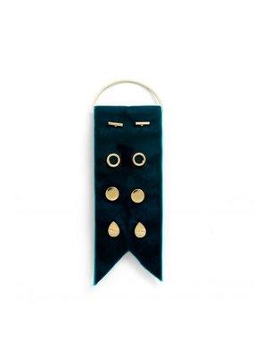 Splendid Iris Gold Earring Set w/ Teal Velvet Ribbon