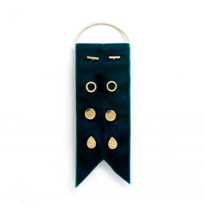 Splendid Iris 4 Sets Of Gold Earrings On Teal Velvet Ribbon