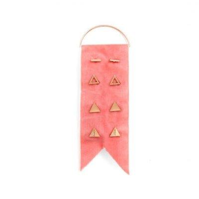 Splendid Iris 4 Sets Of Rose Gold Earrings On Rose Velvet Ribbon