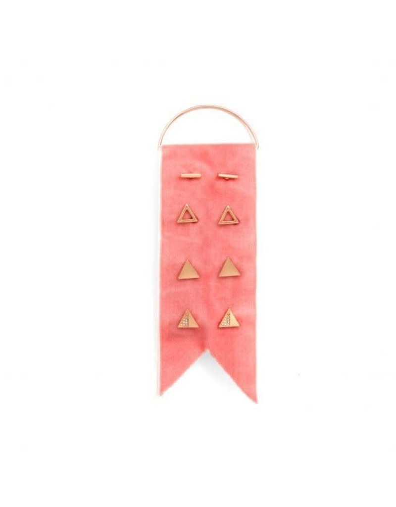 Splendid Iris Rose Gold Earring Set w/ Rose Velvet Ribbon