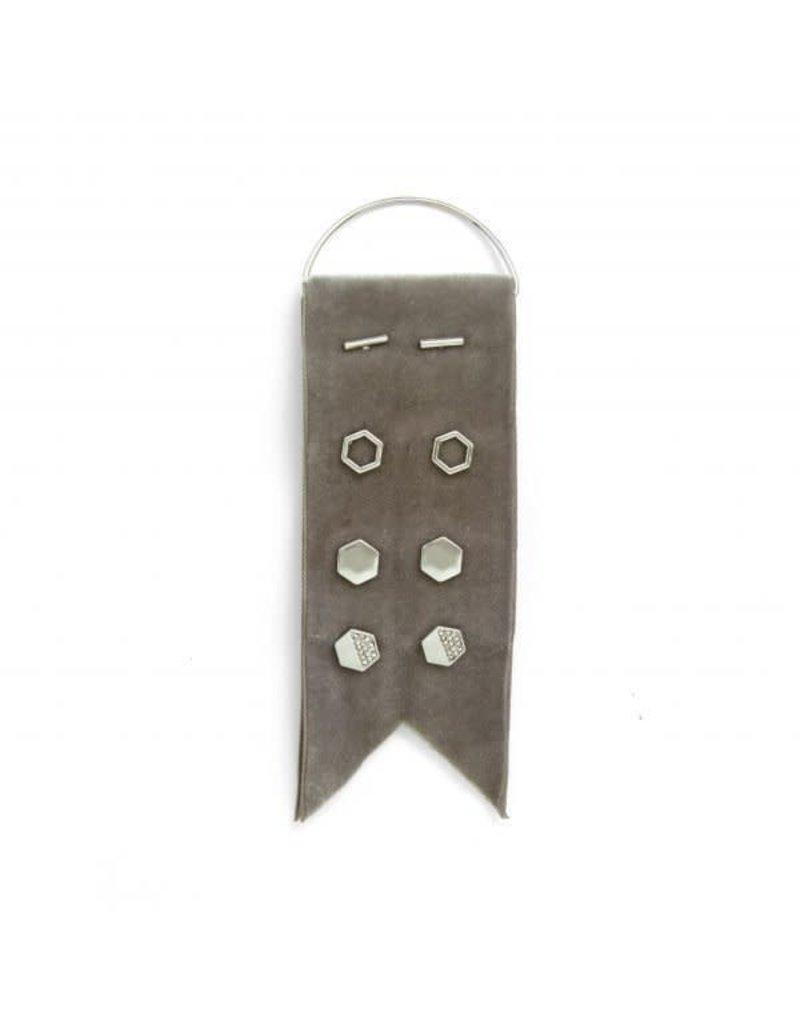 Splendid Iris Silver Earring Set w/ Grey Velvet Ribbon