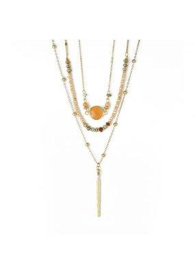 Splendid Iris Gold Triple Layer Necklace w Peach Crystals, Beads, & Bar