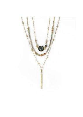 Splendid Iris Gold Triple Layer Necklace w Smoke Crystals, Beads, & Bar