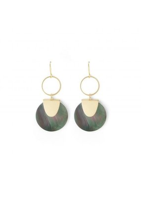 Splendid Iris Gold Grey Shell Open Ring Earrings
