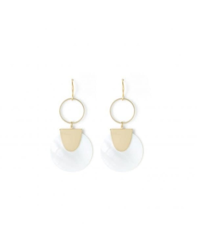 Splendid Iris Gold White Shell Open Ring Earrings