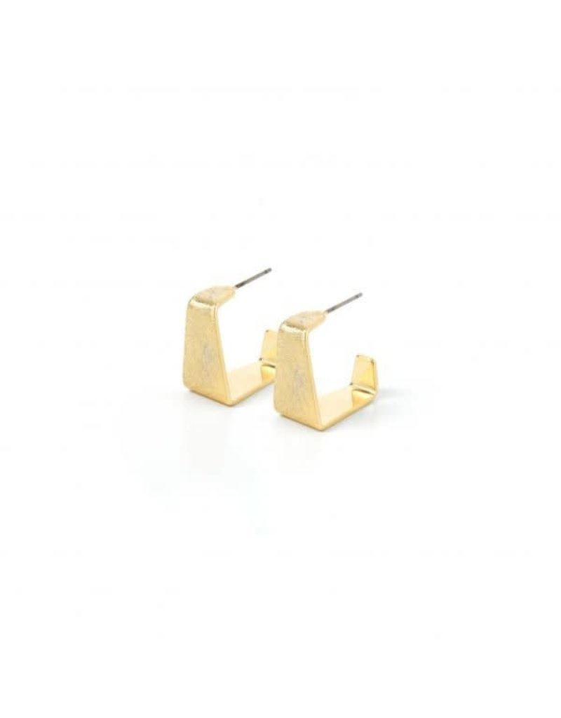 Splendid Iris Gold Contemporary Etched Small Square Hoops