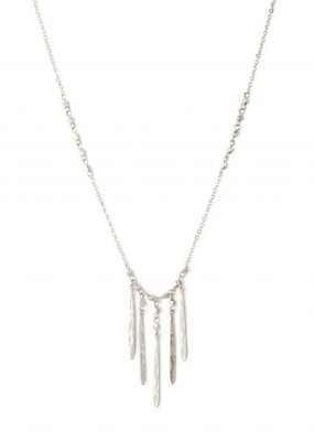 Splendid Iris Silver 5 Narrow Finds On Metal Bead Accented Chain