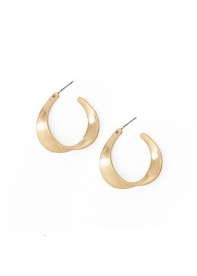 Splendid Iris Gold Medium Twisted Flat Hoops