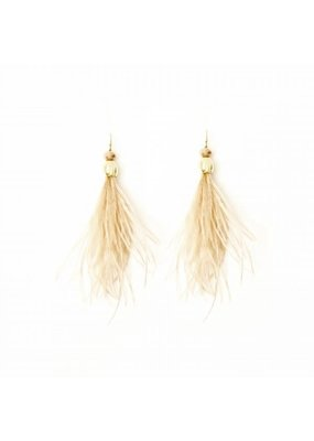 Splendid Iris Gold Beige Feather Crystal Bead Earrings