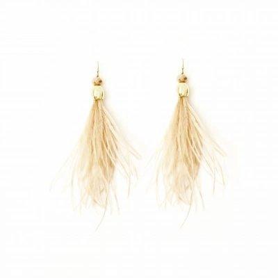 Splendid Iris Long Beige Feather w Crystals & Gold Beads Earrings