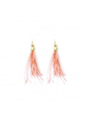 Splendid Iris Gold Rose Feather Crystal Bead Earrings