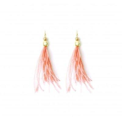Splendid Iris Long Rose Feather w Crystals & Gold Beads Earrings
