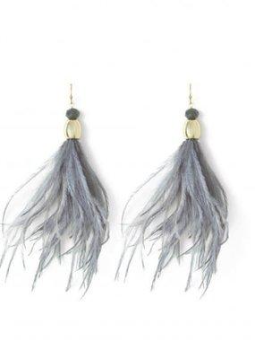Splendid Iris Long Grey Feather w Crystals & Gold Beads Earrings