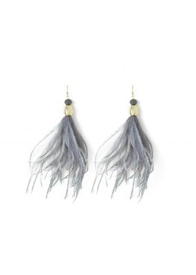 Splendid Iris Gold Grey Feather Crystal Bead Earrings