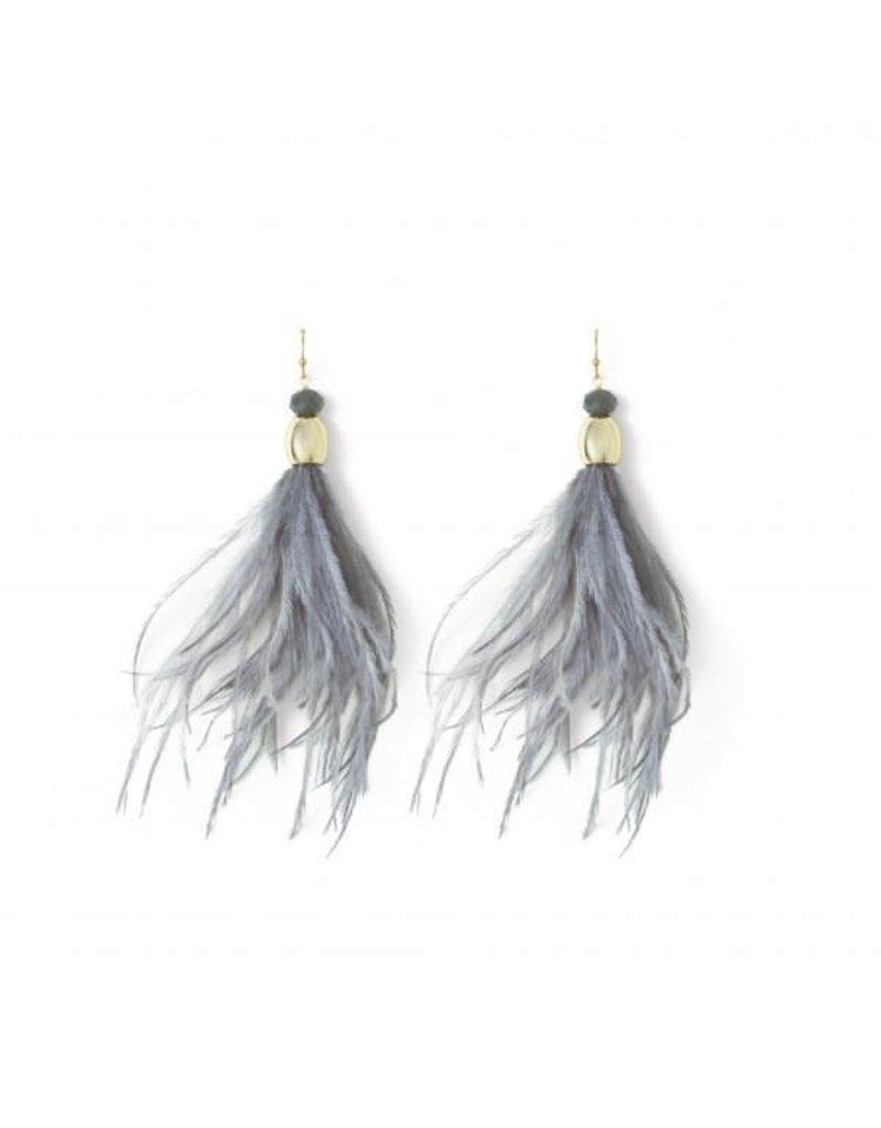Splendid Iris Gold Grey Feather Crystal Bead Earrings