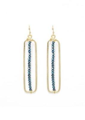 Splendid Iris Gold Long Rectangle w Single Row of Midnight Bead Earrings