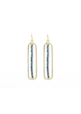 Splendid Iris Gold Long Rectangle Midnight Bead Earrings