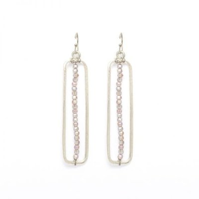 Splendid Iris Silver Long Rectangle w Single Row of Smoke Bead Earrings