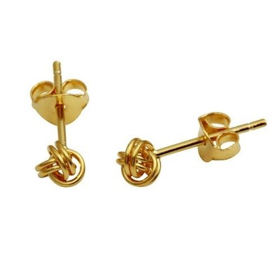 Sterling Silver Small Gold Knot Studs