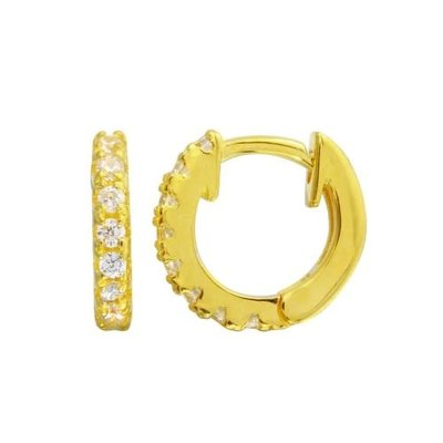 Sterling Gold Plated CZ Huggie Earring