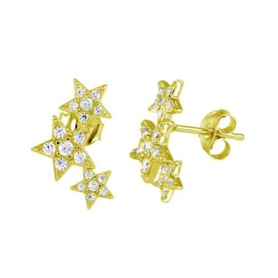 Sterling Silver Gold Plated 3 Star Studs