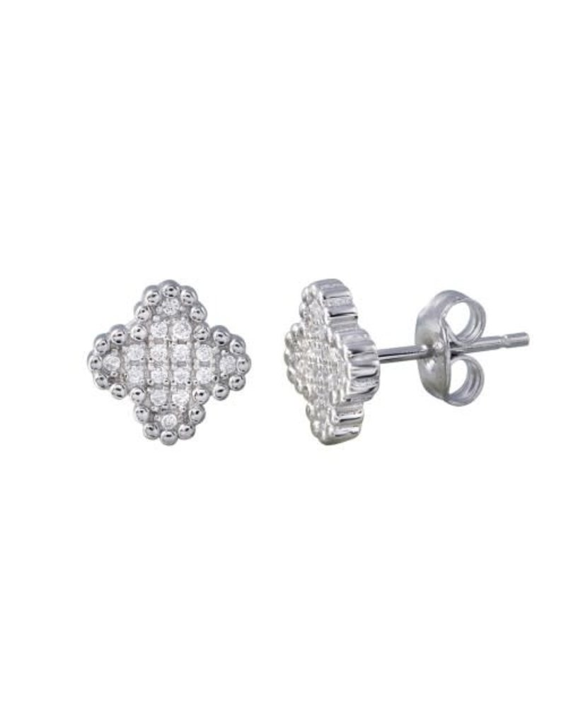 Sterling Silver Clover CZ Studs