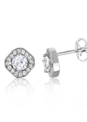 Sterling Silver Round Halo Studs
