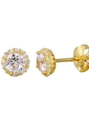 Sterling Silver Gold Plated CZ Halo Studs