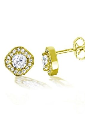 Sterling Silver Gold Plated Halo Studs