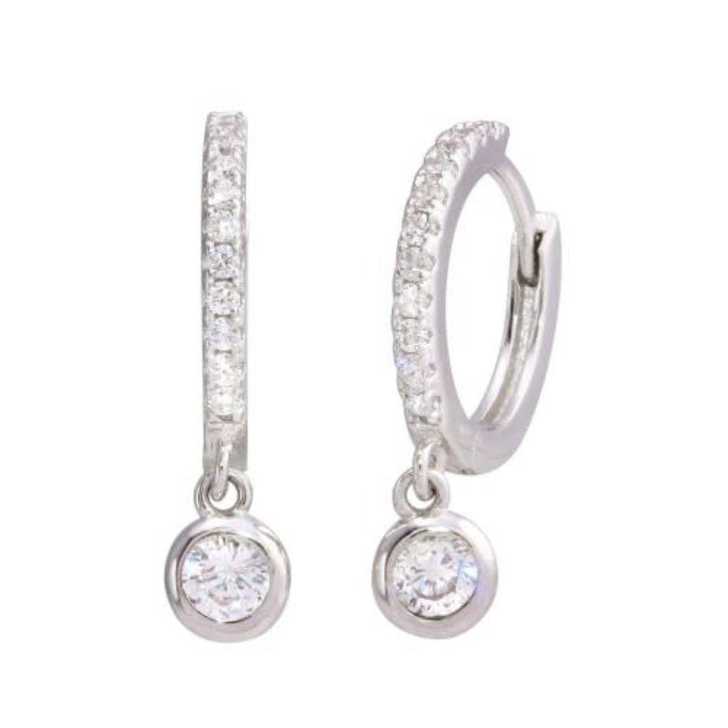 Sterling Silver Dangling CZ Huggie Earring
