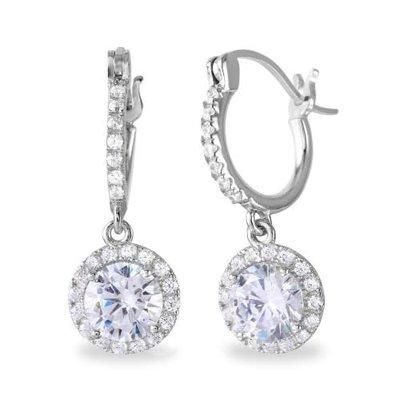 Sterling Silver Dangling Round CZ Huggie Earring