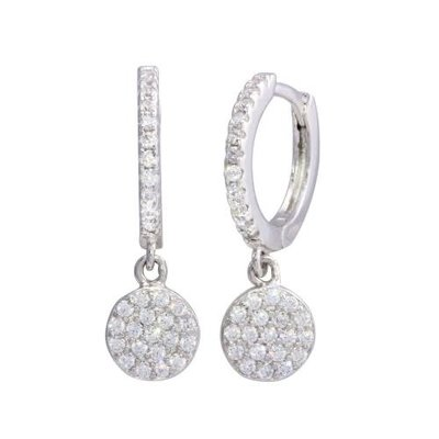 Sterling Silver Dangling CZ Disc Huggie Earring