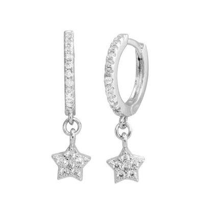 Sterling Silver Dangling CZ Star Huggie Earring