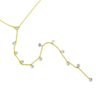 Sterling Gold Plated Drop CZ Necklace