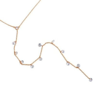 Sterling Rose Gold Plated Drop CZ Necklace
