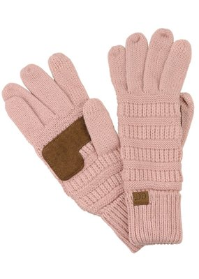C.C. CC Indi Pink Cable Knit Ribbed Gloves