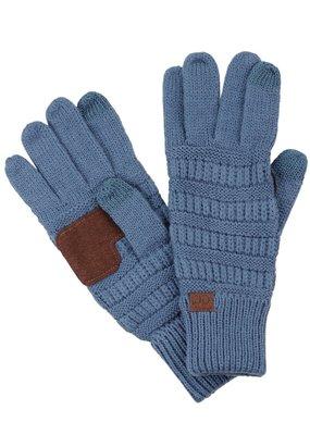 C.C. CC Dark Denim Ribbed Cable Knit Gloves