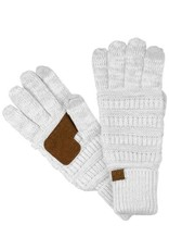 C.C. CC Metallic Ivory/Silver Ribbed Cable Knit Gloves