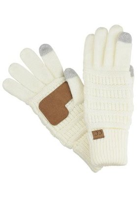 C.C. CC Ivory Ribbed Cable Knit Gloves