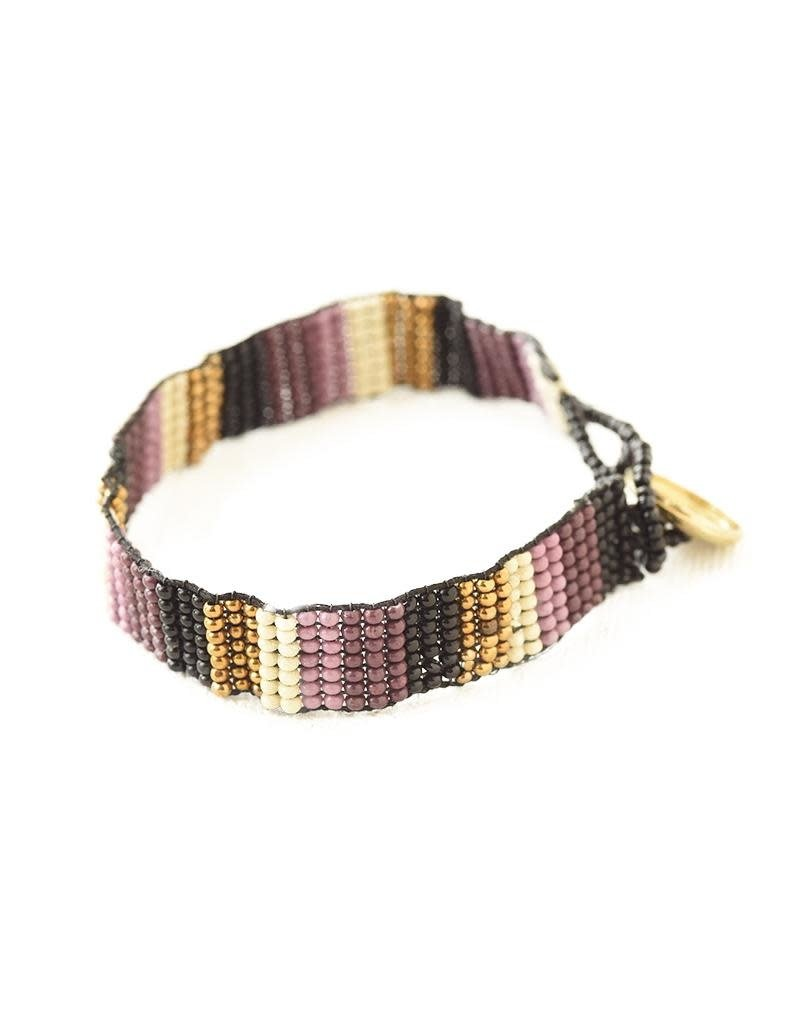 Ink + Alloy Port Lilac Gold Black Ivory Friendship Bracelet