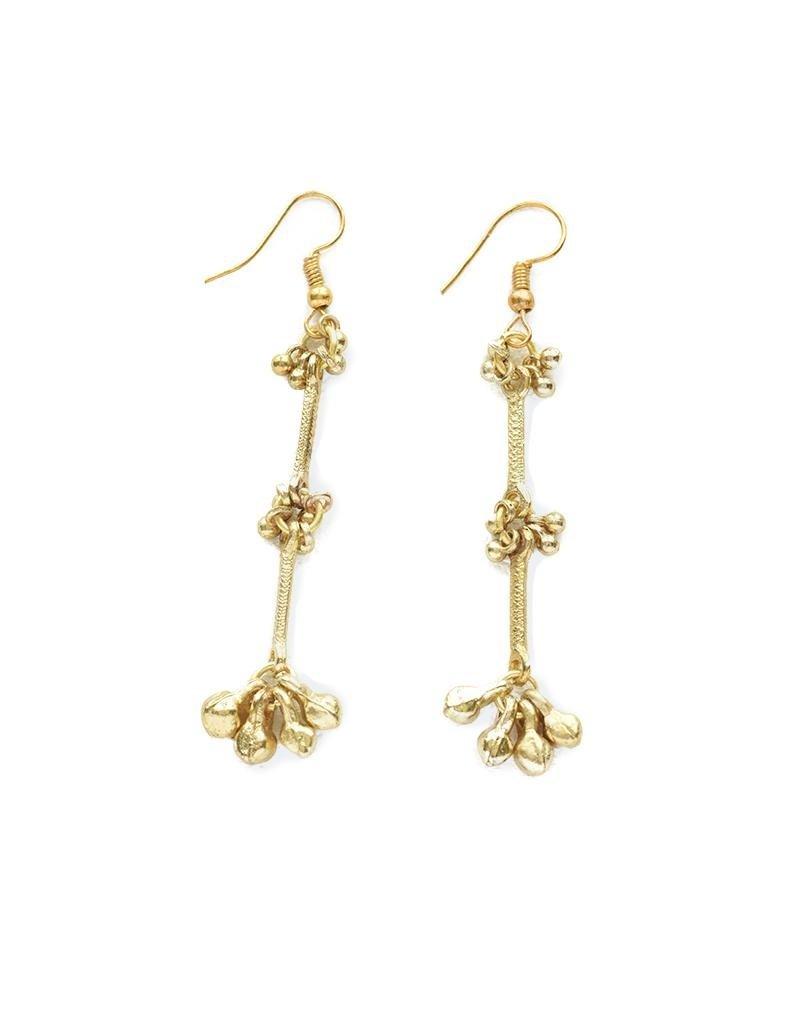 Ink + Alloy Brass Bead Trio Cluster Earrings